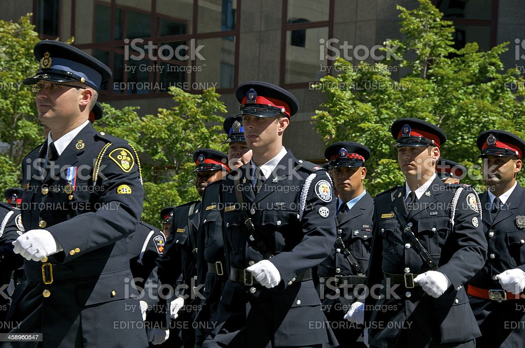 Canadian Police at NYPD Memorial ceremony, September 9, 2011, NYC stock photo