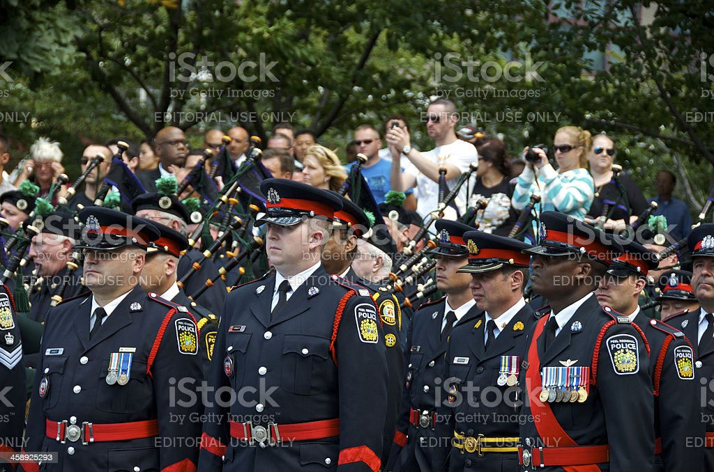 Canadian Police Officers, NYPD 9-11 Memorial Ceremony, New York City stock photo