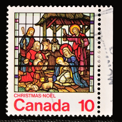 Stockholm, Sweden - February 11, 2013: CANADA - CIRCA 1976: A stamp printed in Canada, shows Stained-glass windows, Nativity, St. Michaels, Toronto, circa 1976