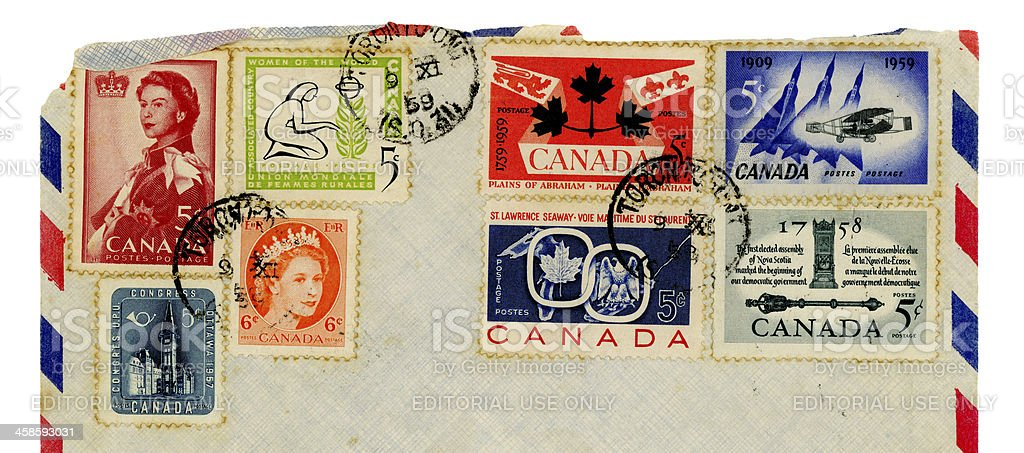 Canadian postage stamps, 1959 royalty-free stock photo