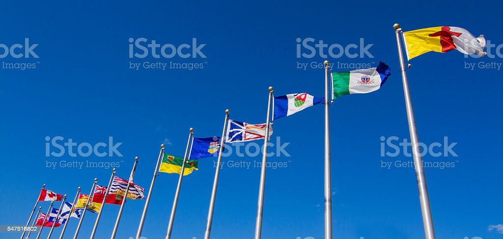 Canadian provinces and territory flags stock photo