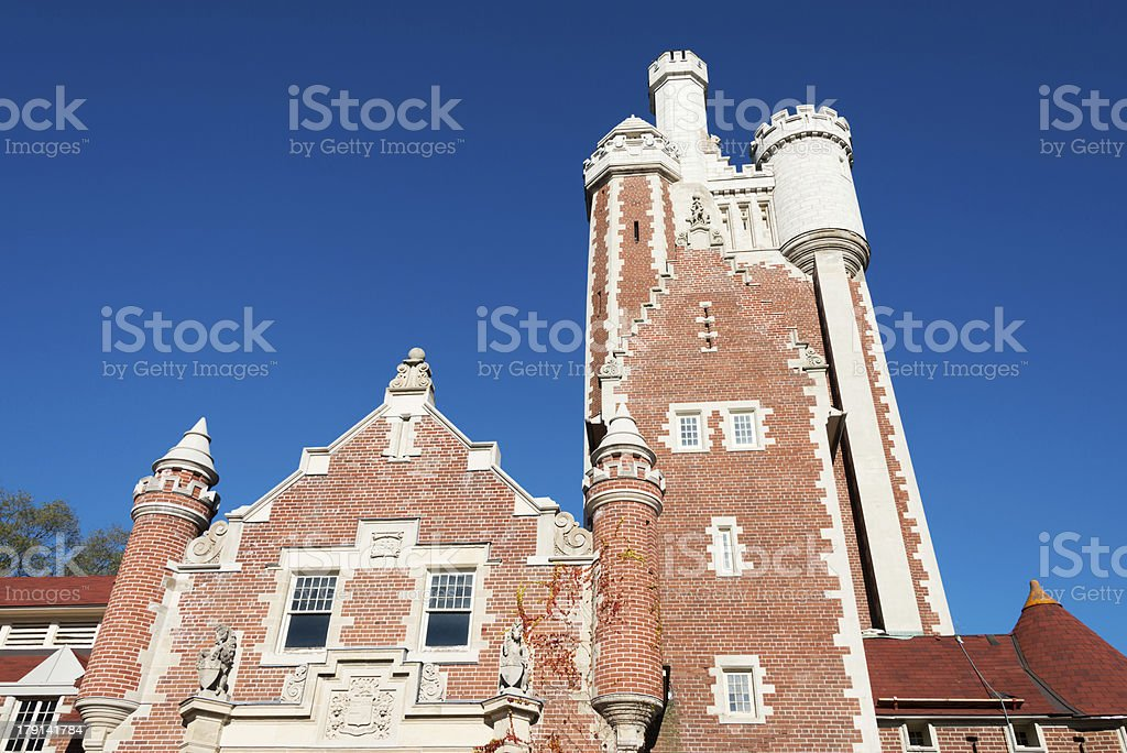 Canadian red brick castle in Toronto stock photo