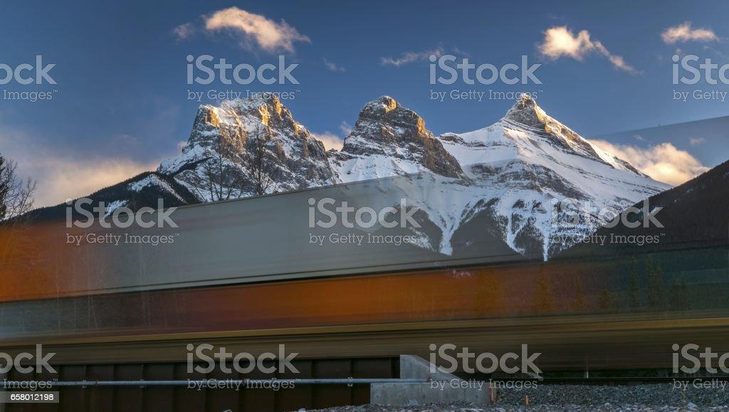 Canadian Rockies Bullet Train stock photo