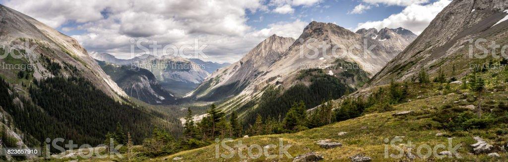 Canadian Rockies Panorama.  Views from Peter Lougheed Provincial Park, Alberta stock photo