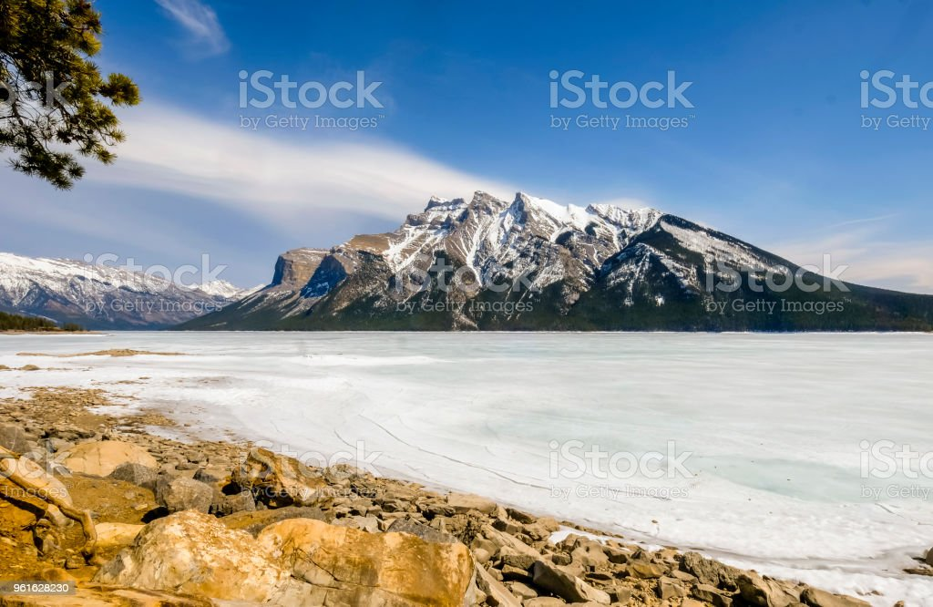 Canadian Rockies winter scene stock photo