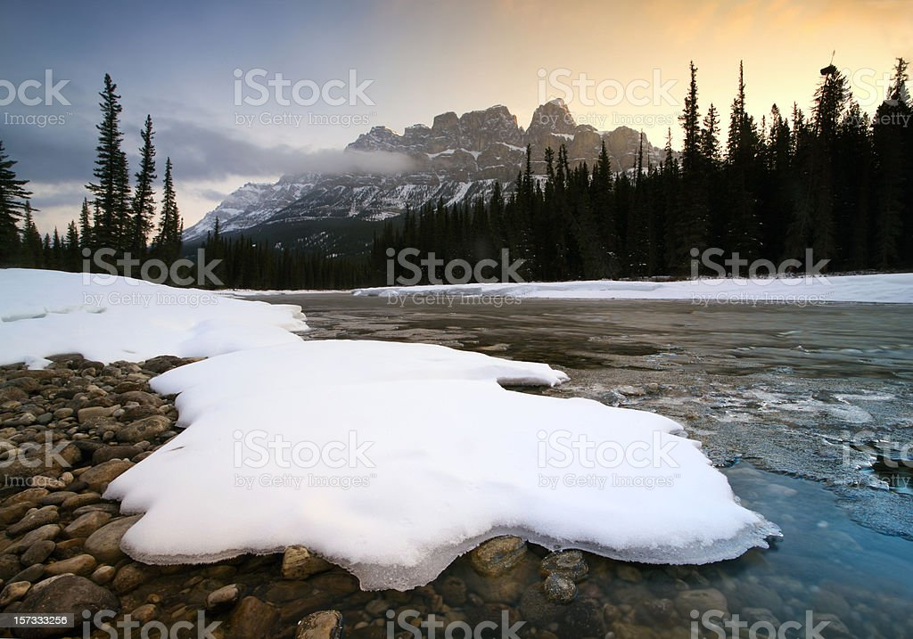 Canadian Rockies Winter Scenic on Bow River stock photo