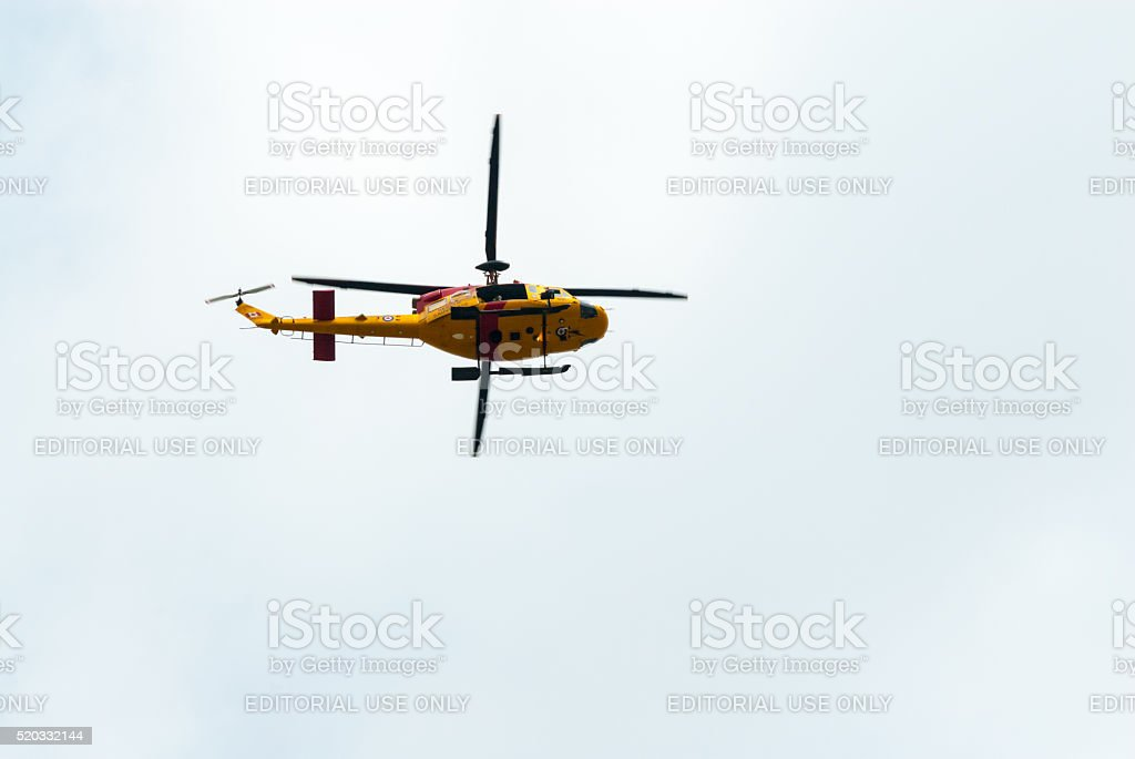 A Canadian Armed Forces Search and Rescue CH-146 Griffon helicopter...