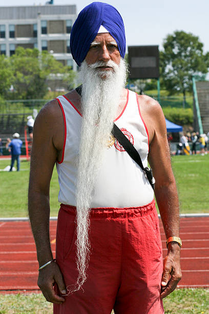 Canadian Sikh Masters Athlete age 73 stock photo