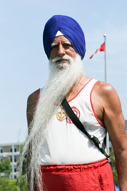 Canadian Sikh Masters Athlete with Canada flag stock photo