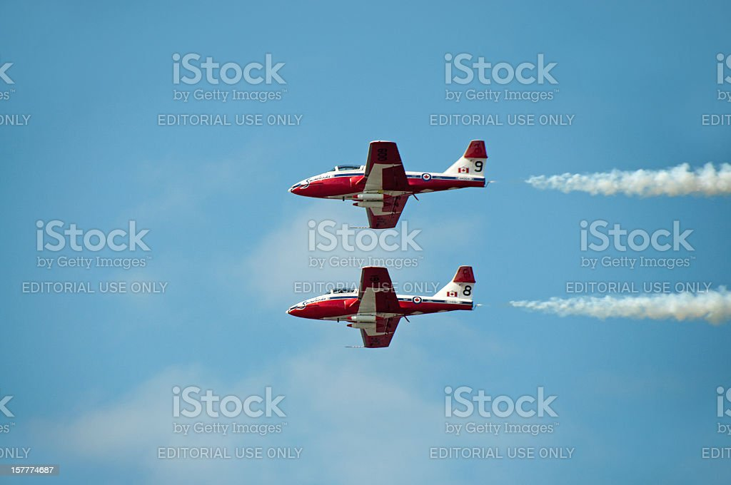 Canadian Snow Birds in Flight.. Two Planes stock photo