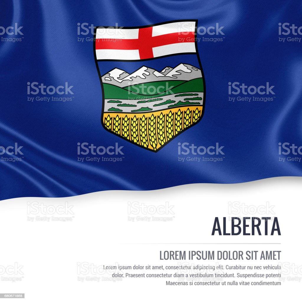 Canadian state Alberta flag waving on an isolated white background. State name and the text area for your message. stock photo