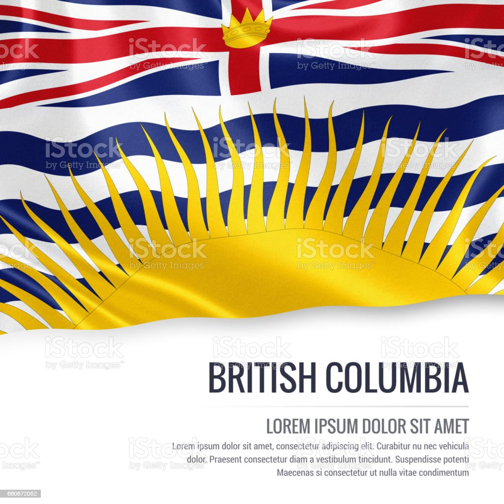 Canadian state British Columbia flag waving on an isolated white background. State name and the text area for your message. stock photo