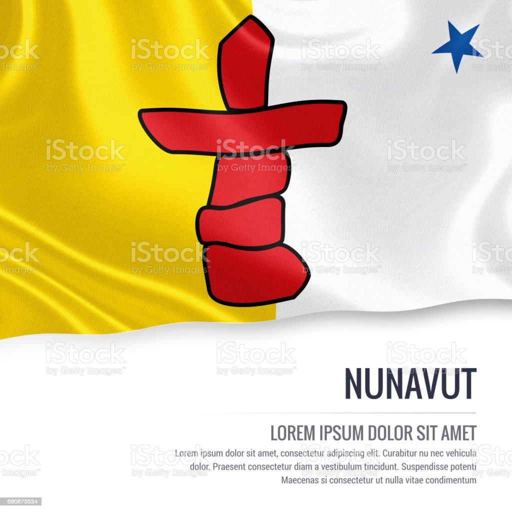 Canadian state Nunavut flag waving on an isolated white background. State name and the text area for your message. vector art illustration