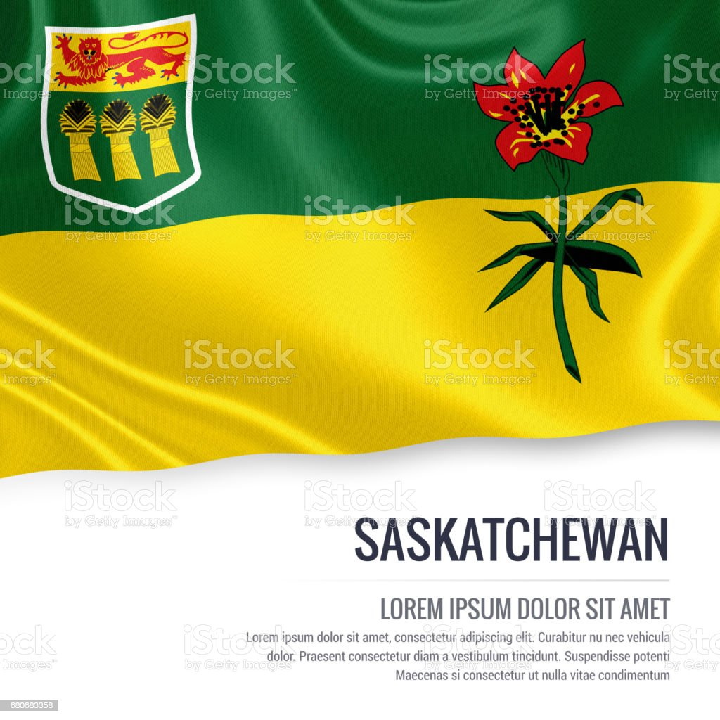 Canadian state Saskatchewan flag waving on an isolated white background. State name and the text area for your message. stock photo