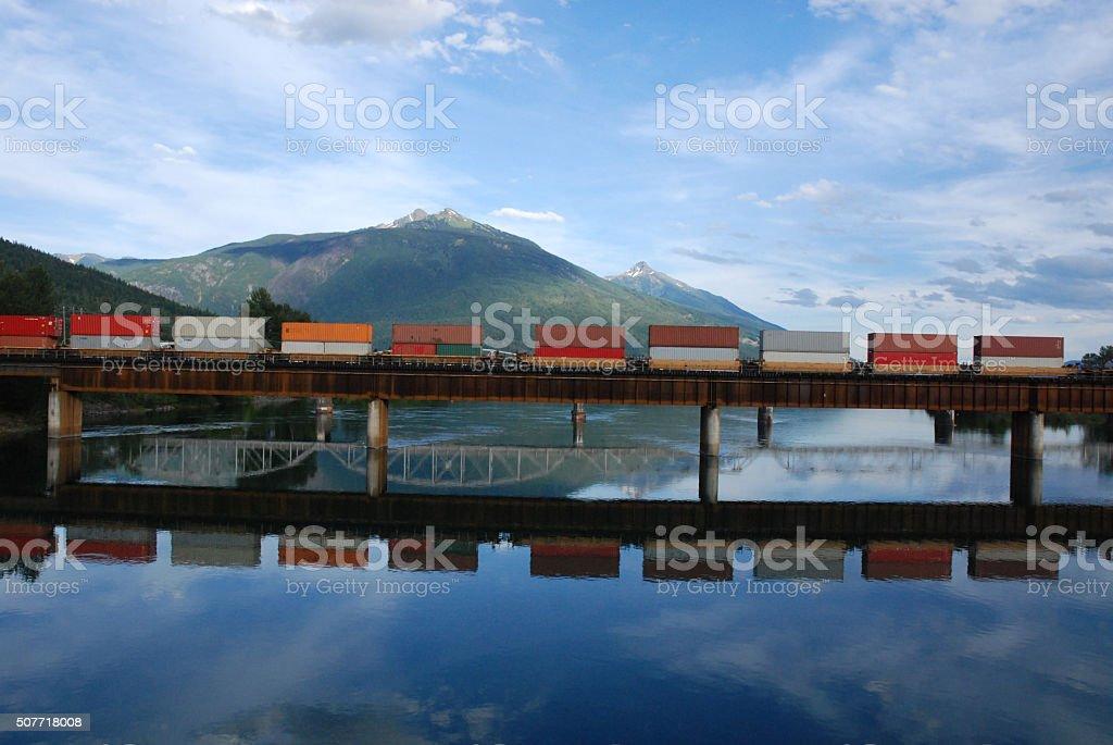 Canadian train on a railwaybridge stock photo