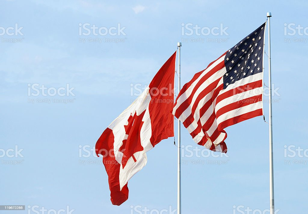 canadian usa flag royalty-free stock photo