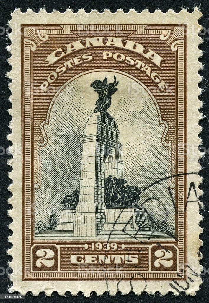 Canadian War Memorial Stamp stock photo