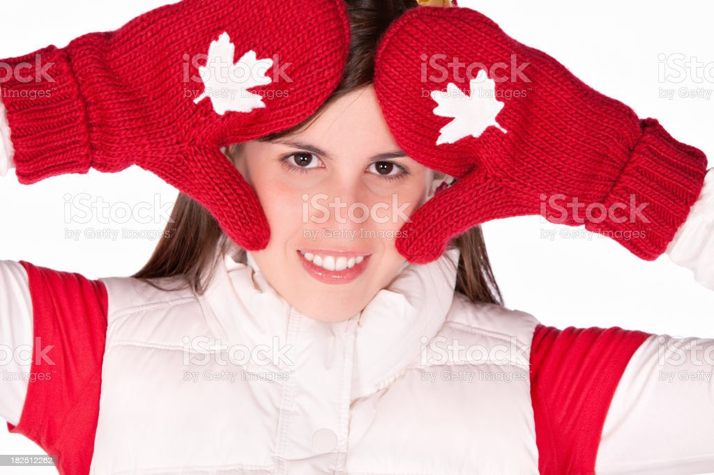 Canadian young woman with mapple national symbol royalty-free stock photo