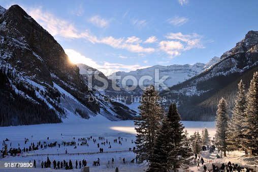 Winter wonderland lake Louise in banff national park during Ice magic festival Alberta, canada. This lake changes it's beauty in every season.