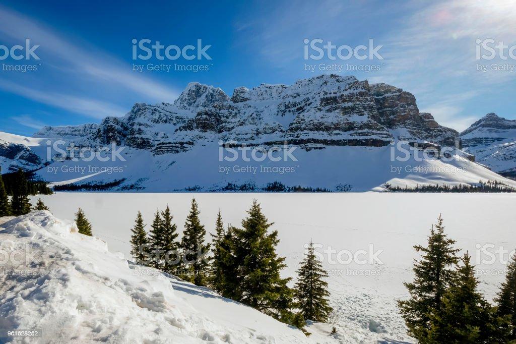 Canadina Rockies winter scene stock photo