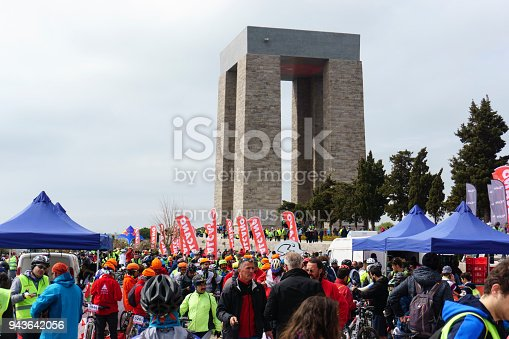Canakkale, Turkey, March 25, 2018: Second day of Canakkale cycling festival Martyrs Memorial tour.