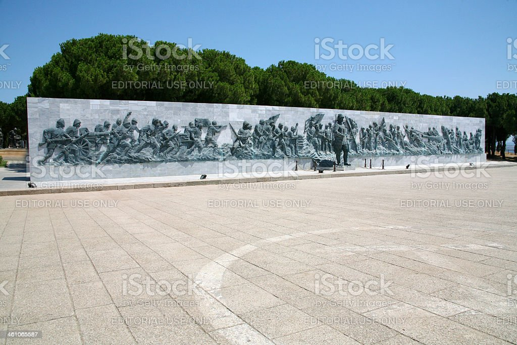 Canakkale Martyrs' Memorial Wall in Turkey stock photo