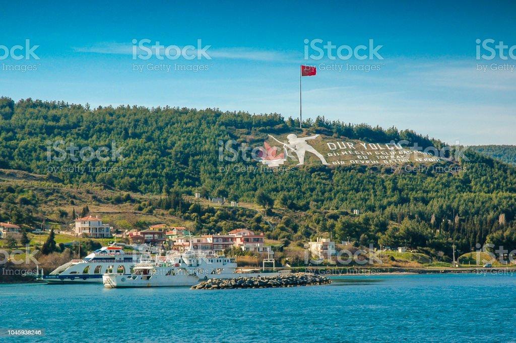Victoire de Canakkale symboles sur les collines de Gallipoli avec Ferries - Photo