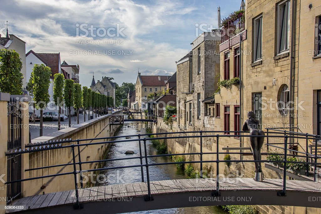Canal and bridge in the center of Valkenburg stock photo
