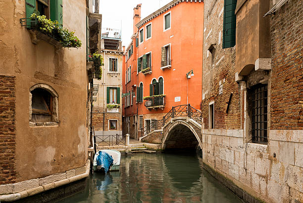 Canal and Bridge in Venice, italy stock photo