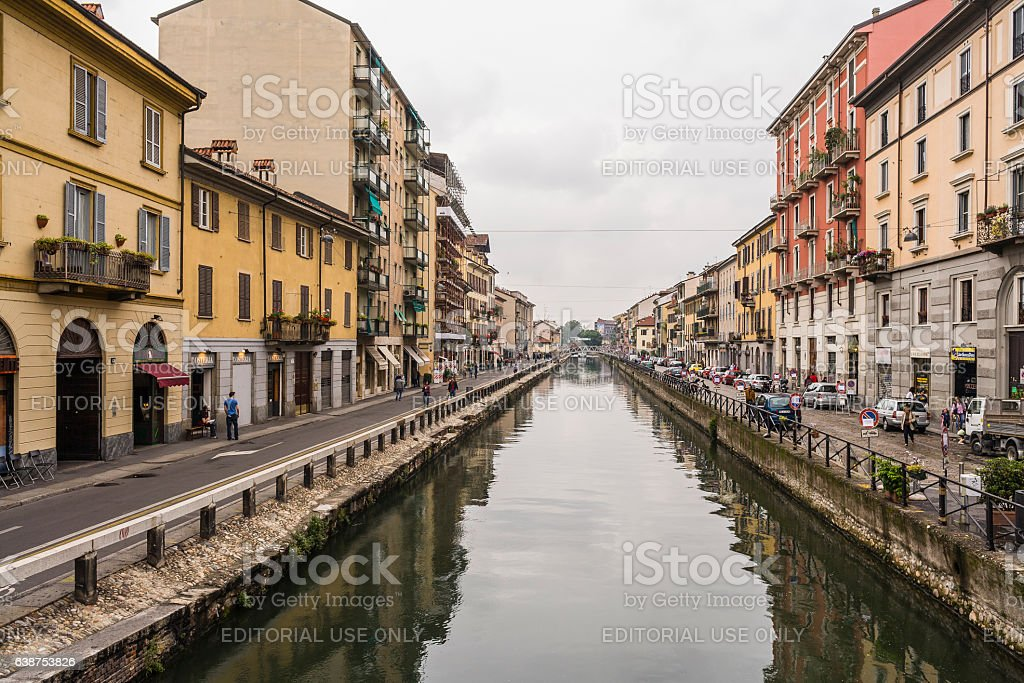 Canal and building facades in the Area of Navigli (Milan) stock photo