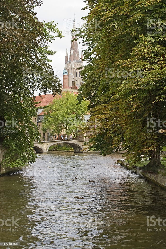Canal and Church of Our Lady, Bruges royalty-free stock photo