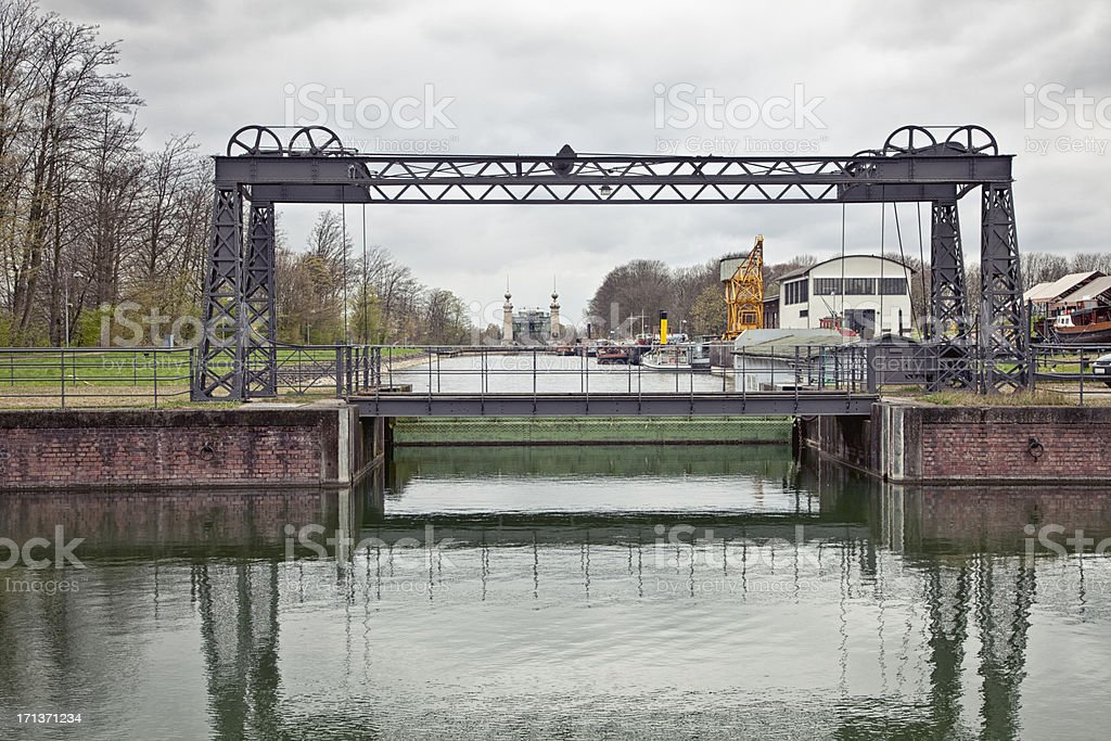 canal and historical industrial boat lift stock photo