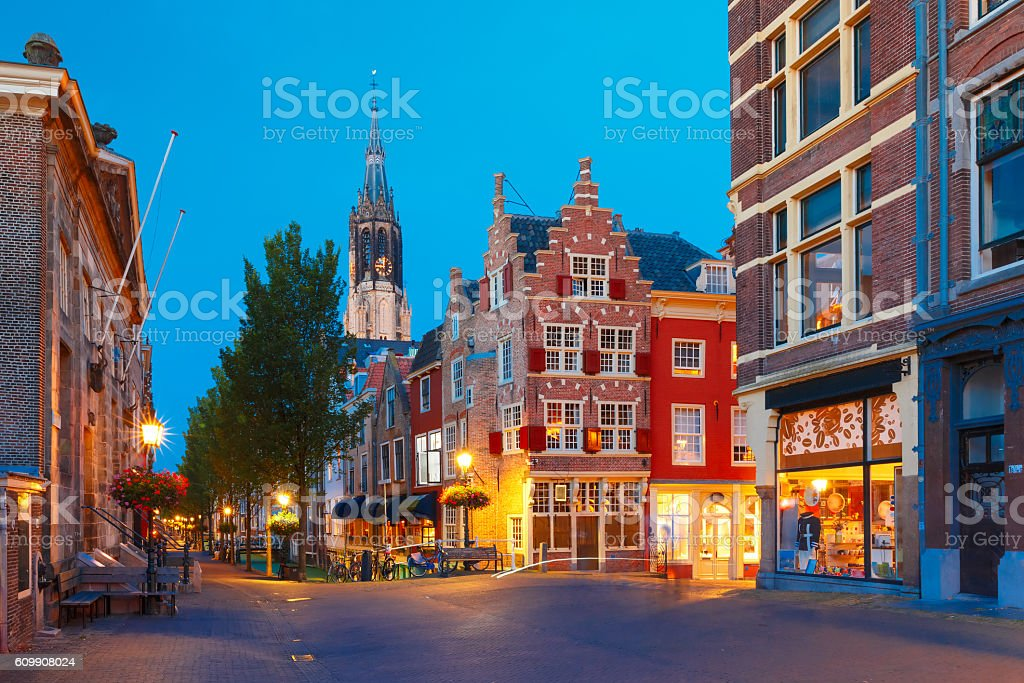 Canal and Nieuwe Kerk church, Delft, Netherlands stock photo