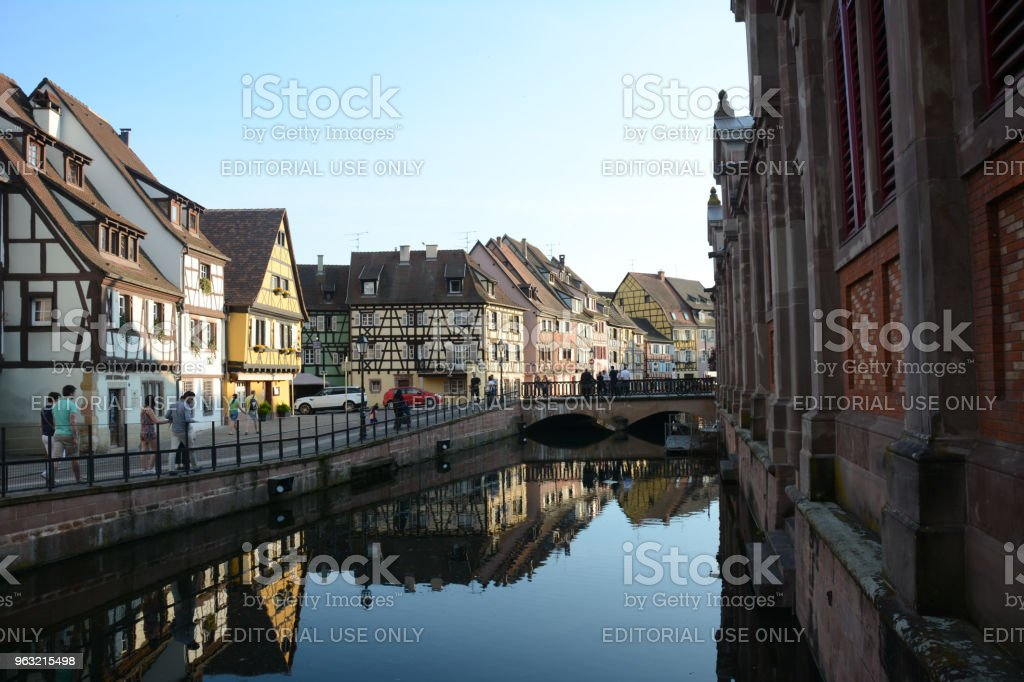Canal and Old Buildings of Colmar, Alsace, France stock photo