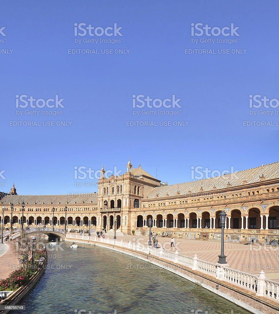 Canal and Pavilion at Plaza Espana in Sevilla royalty-free stock photo