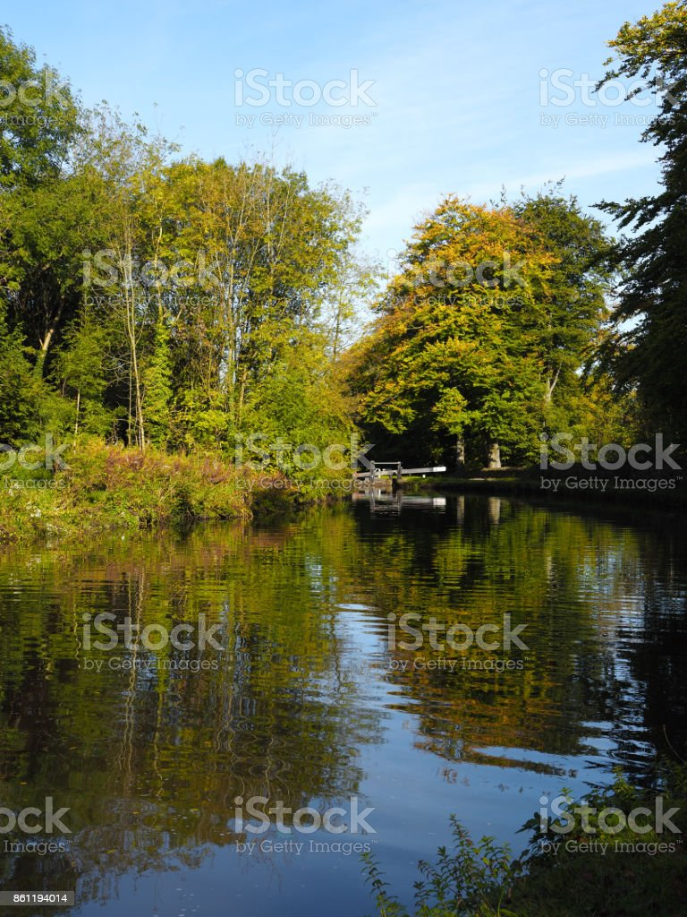 Canal and tree Landscape stock photo