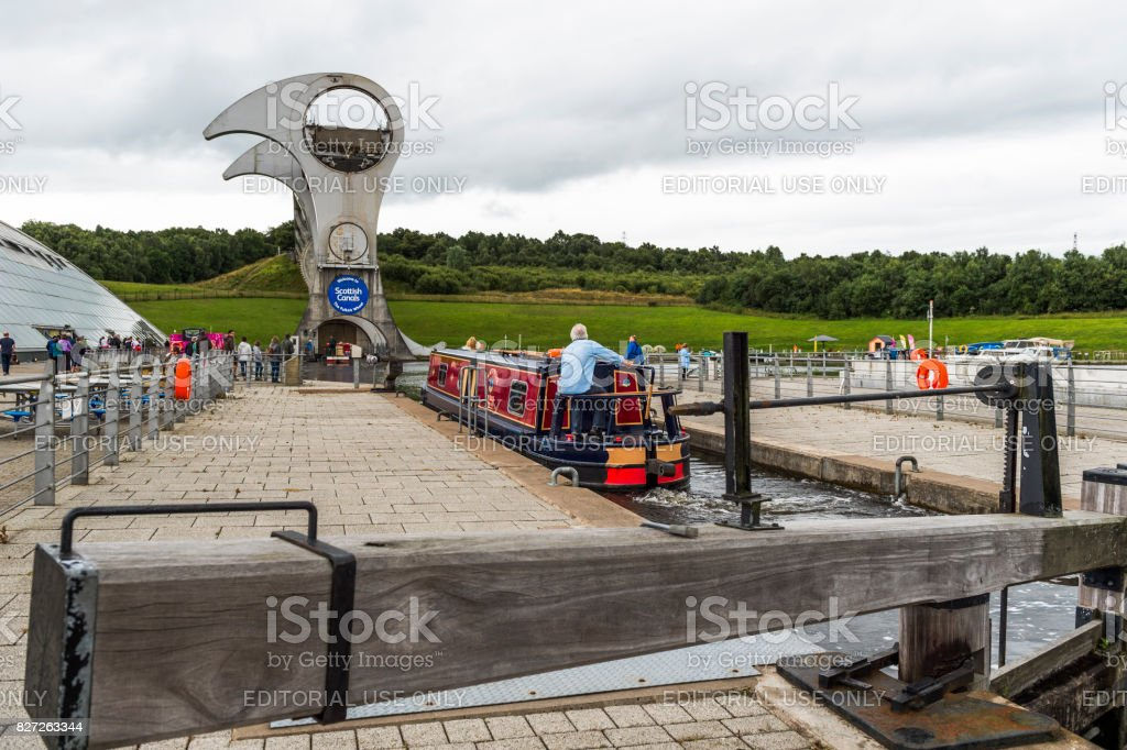 Canal barge at the Falkirk Wheel in central Scotland stock photo