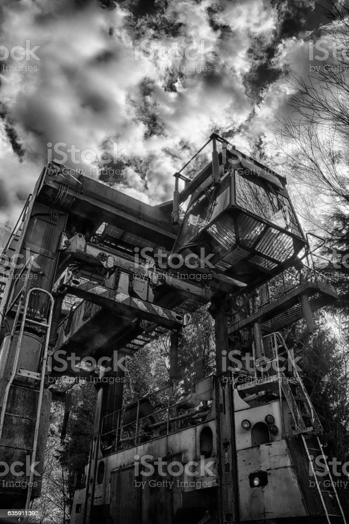 Canal boat crane at Debdale Wharf, Leicestershire stock photo