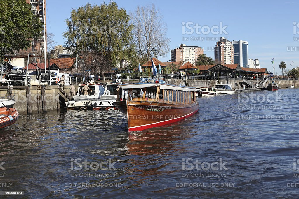 canal boat on Tigre royalty-free stock photo