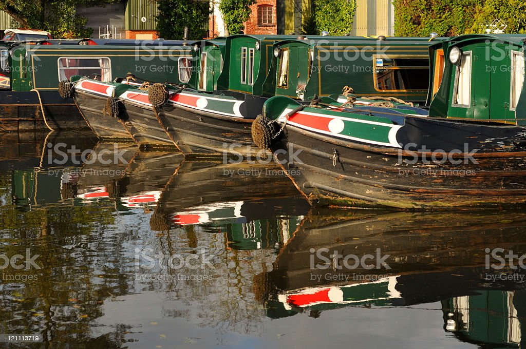 Canal Boat Reflection royalty-free stock photo