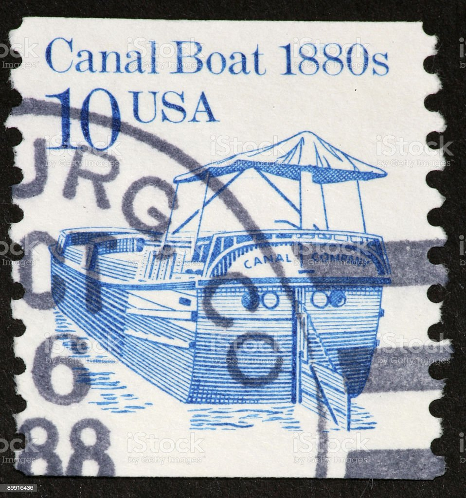 canal boat stamp royalty-free stock photo