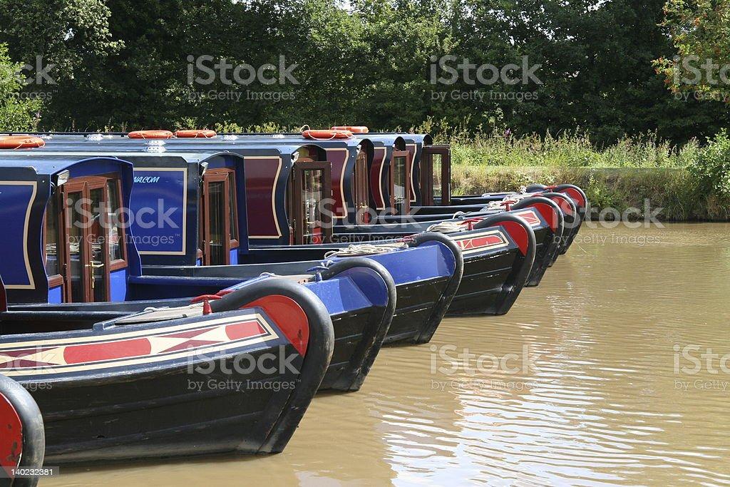 Canal Boats Fleet stock photo
