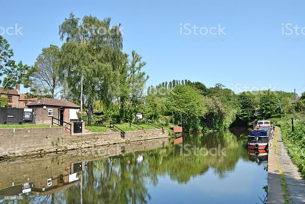 Canal Boats on the River Ure stock photo