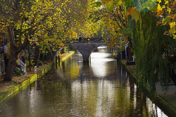 Canal bridge under autumn leaves stock photo