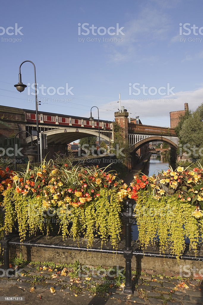 Canal cityscape in Manchester, England royalty-free stock photo