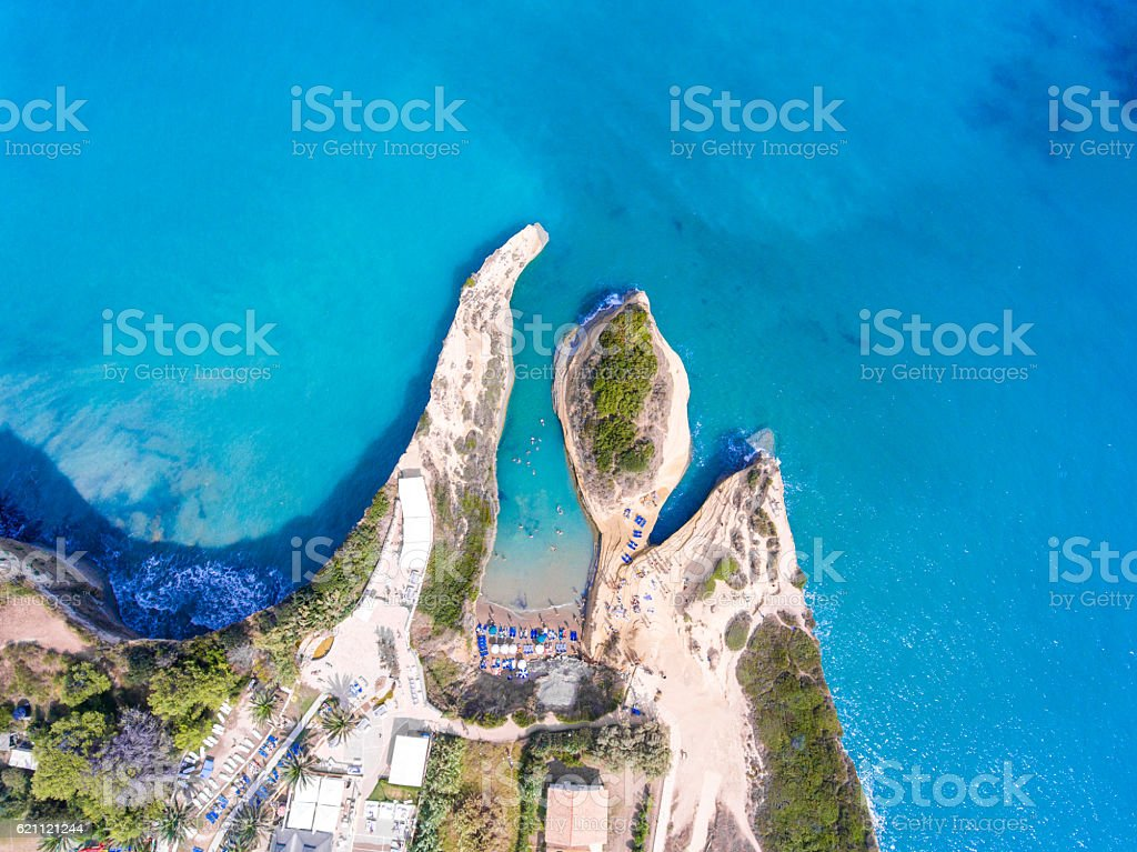 Canal D'Amour beach in Sidari, Corfu island, Greece. People bath stock photo