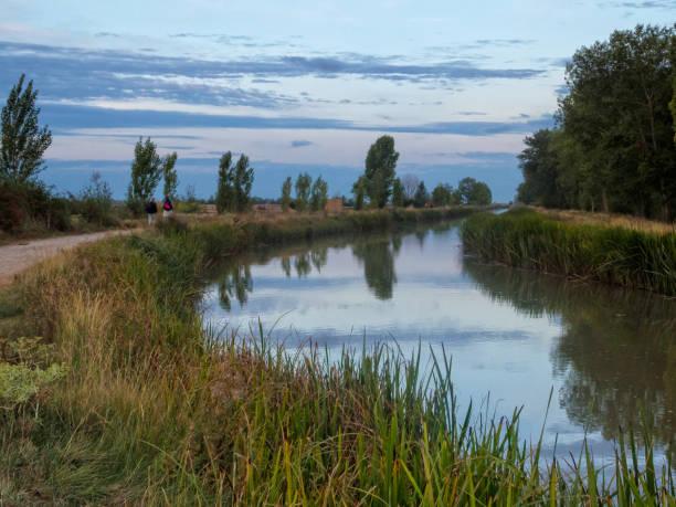 Canal de Castilla - Boadilla del Camino stock photo