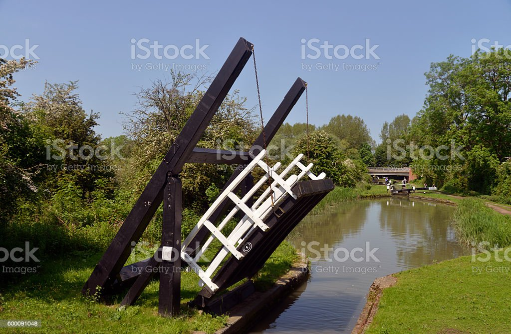 Canal draw bridge stock photo