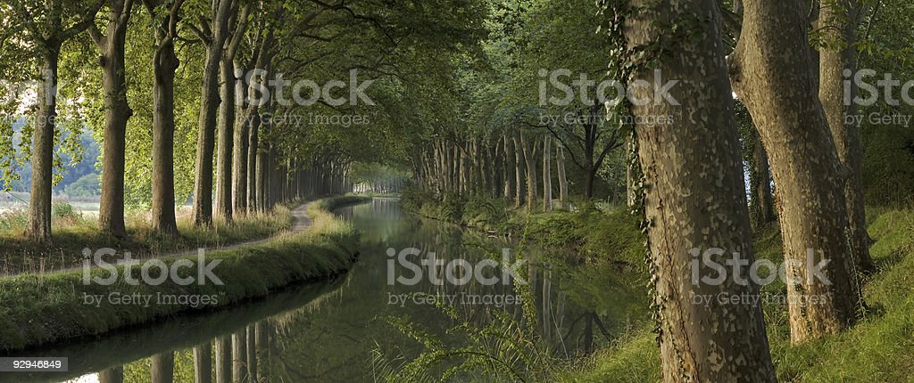Canal du Midi in the morning (panorama) royalty-free stock photo