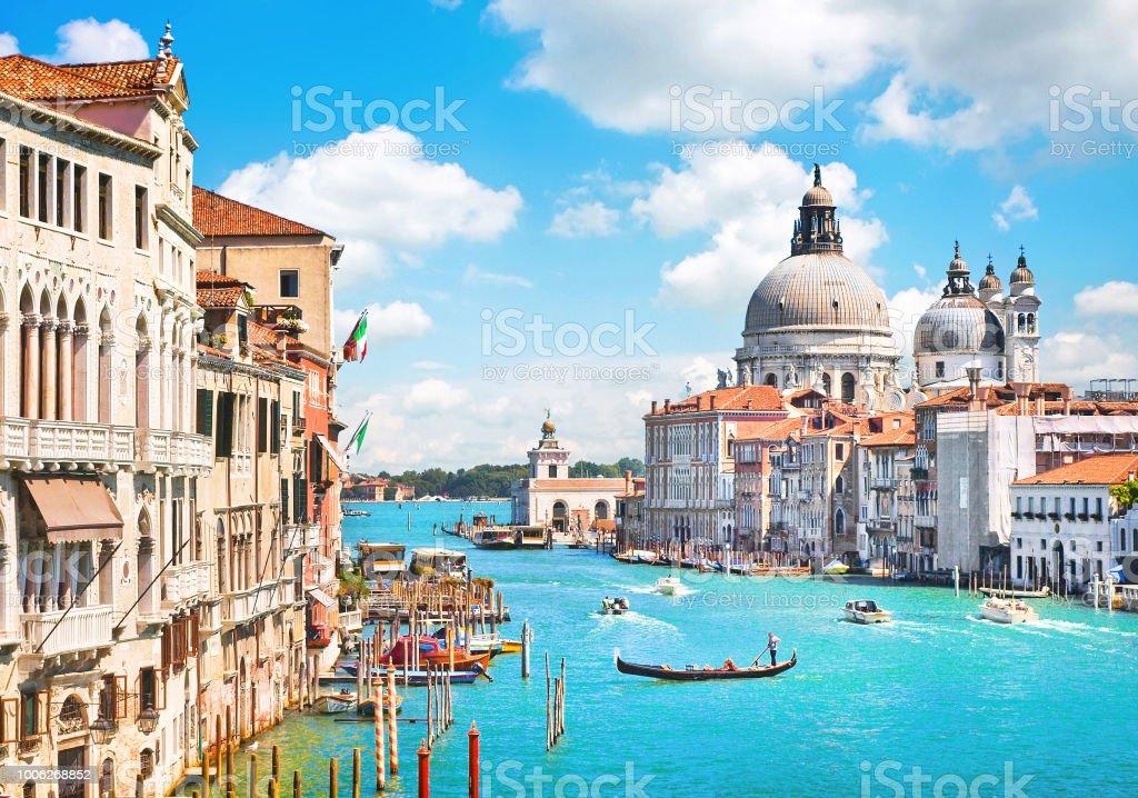 Canal Grande and Basilica di Santa Maria della Salute, Venice, Italy stock photo